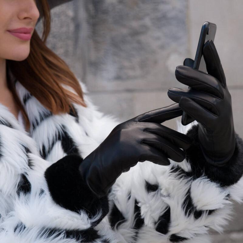 Damskie rękawiczki z syntetycznym futerkiem