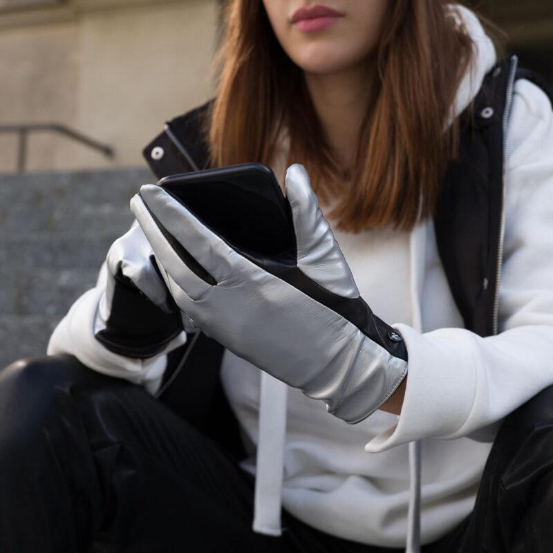 Damskie rękawiczki z niewidoczną technologią touchscreen