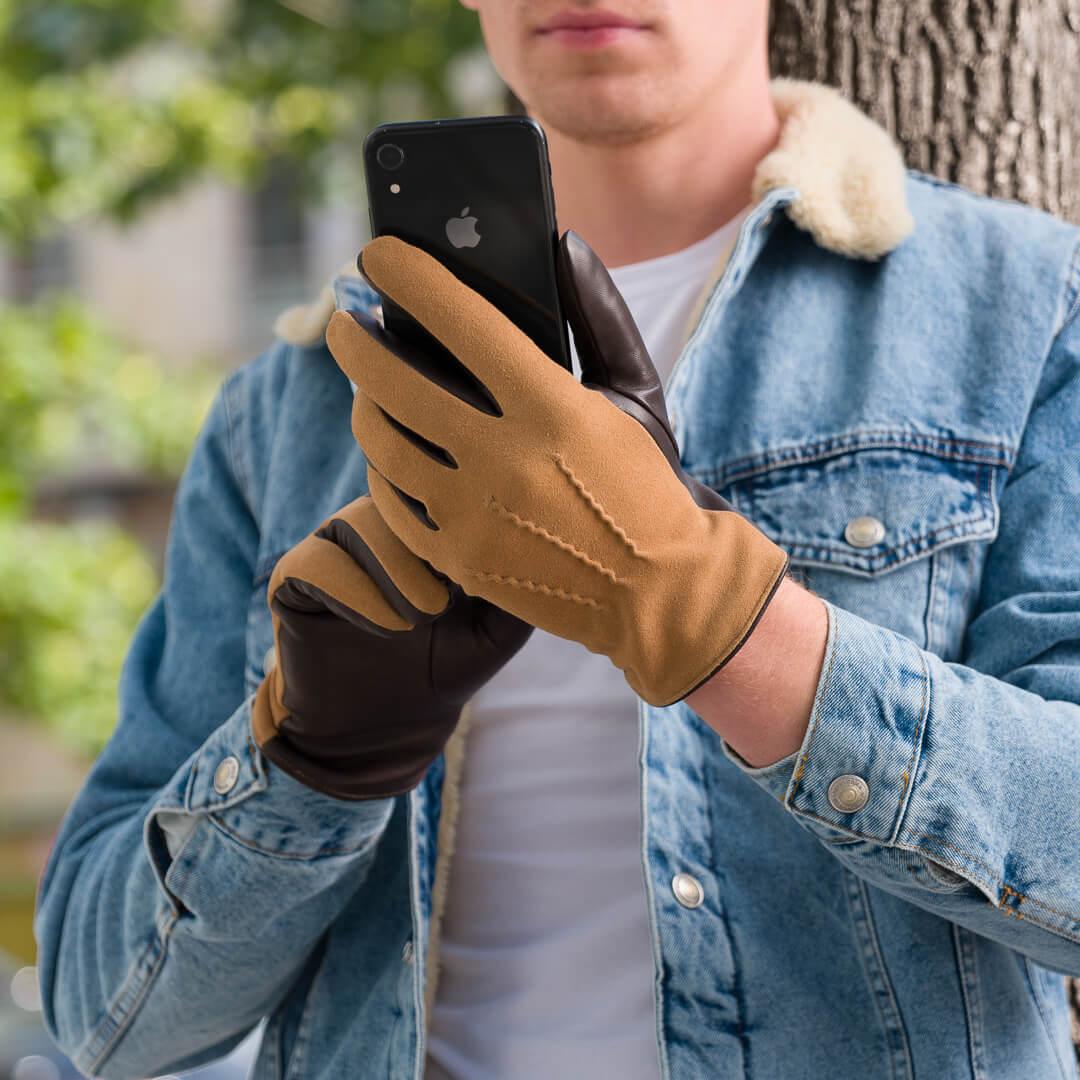 Męskie rękawiczki z technologią touchscreen