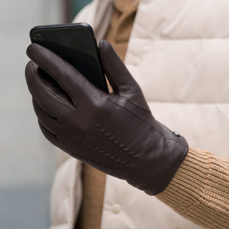 Klasyczne brązowe rękawiczki dla mężczyzn