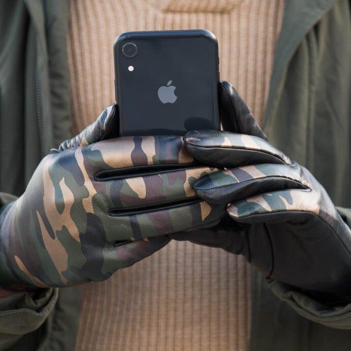 Męskie rękawiczki moro z technologią touchscreen