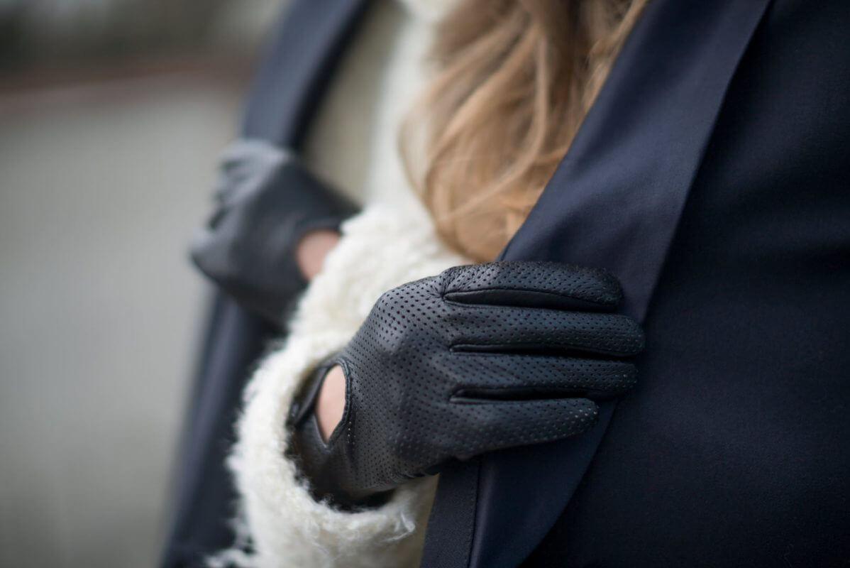 Damskie rękawiczki samochodowe ze skóry