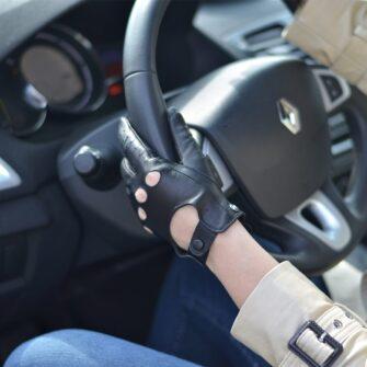 Damskie rękawiczki samochodowe czarne skórzane