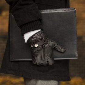 Czarne rękawiczki skórzane męskie dotykowe