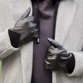 Czarne sportowe rękawiczki skórzane