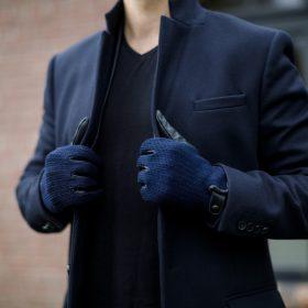 Granatowe męskie rękawiczki zimowe
