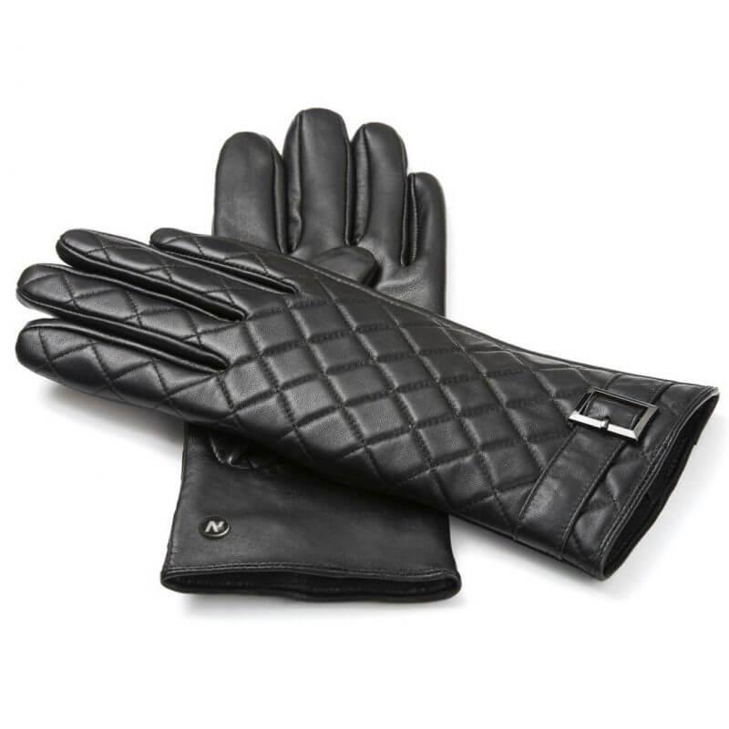 Czarne, skórzane rękawiczki napoELEGANT