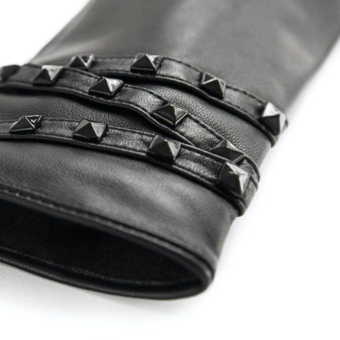 Rękawiczki napoSTUD ze skóry czarnej