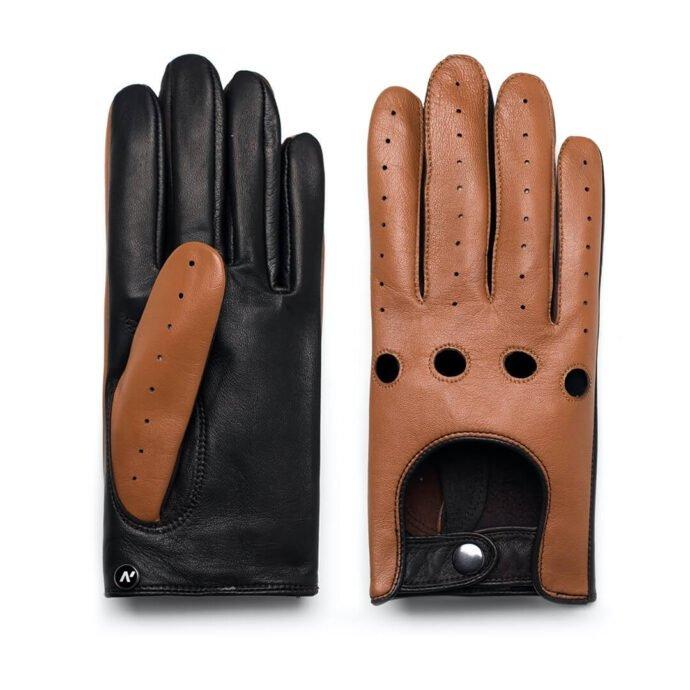 Rękawiczki męskie dotykowe skórzane brązowe