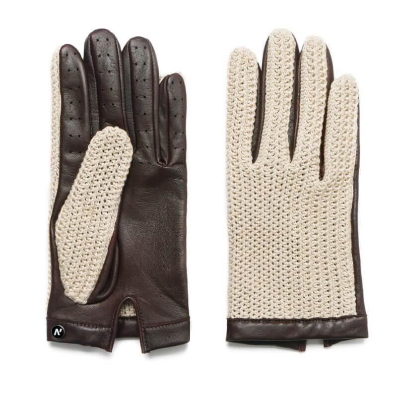 Męskie rękawiczki samochodowe beżowe