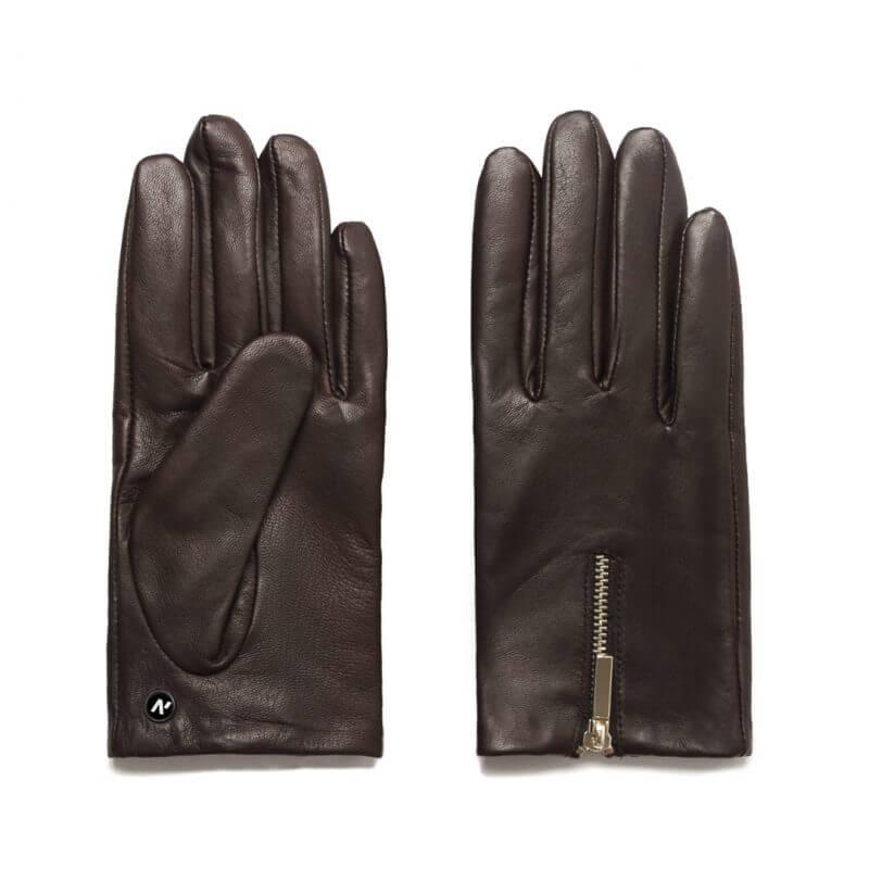 Damskie rękawiczki skórzane brązowe