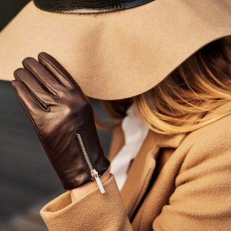 Damskie rękawiczki brązowe skórzane z zamkiem