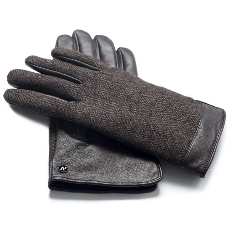 Męskie rękawiczki skórzane brązowe