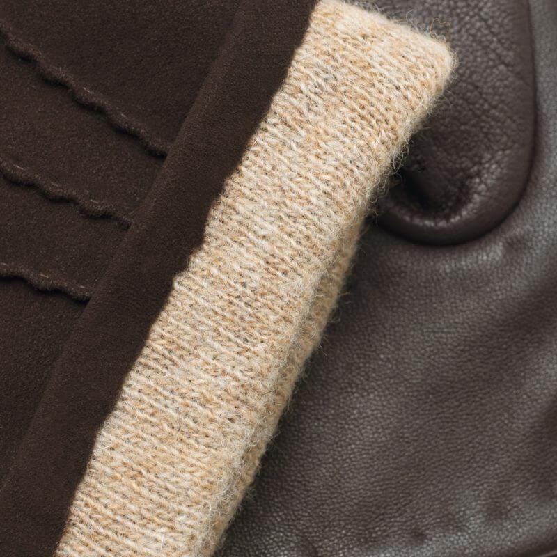Męskie rękawiczki skórzane do smartfona brązowe