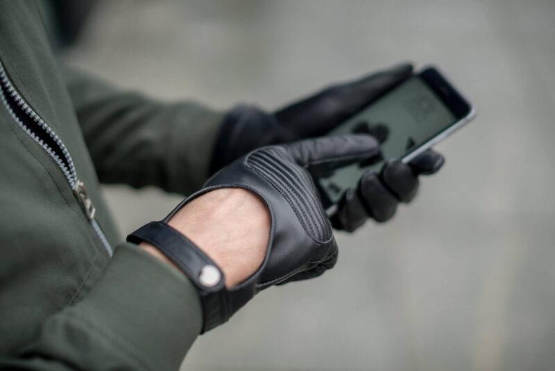Męskie rękawiczki samochodowe czarne skórzane