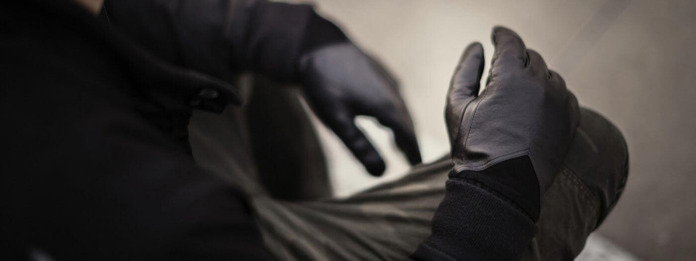 Czarne męskie rękawiczki skórzane