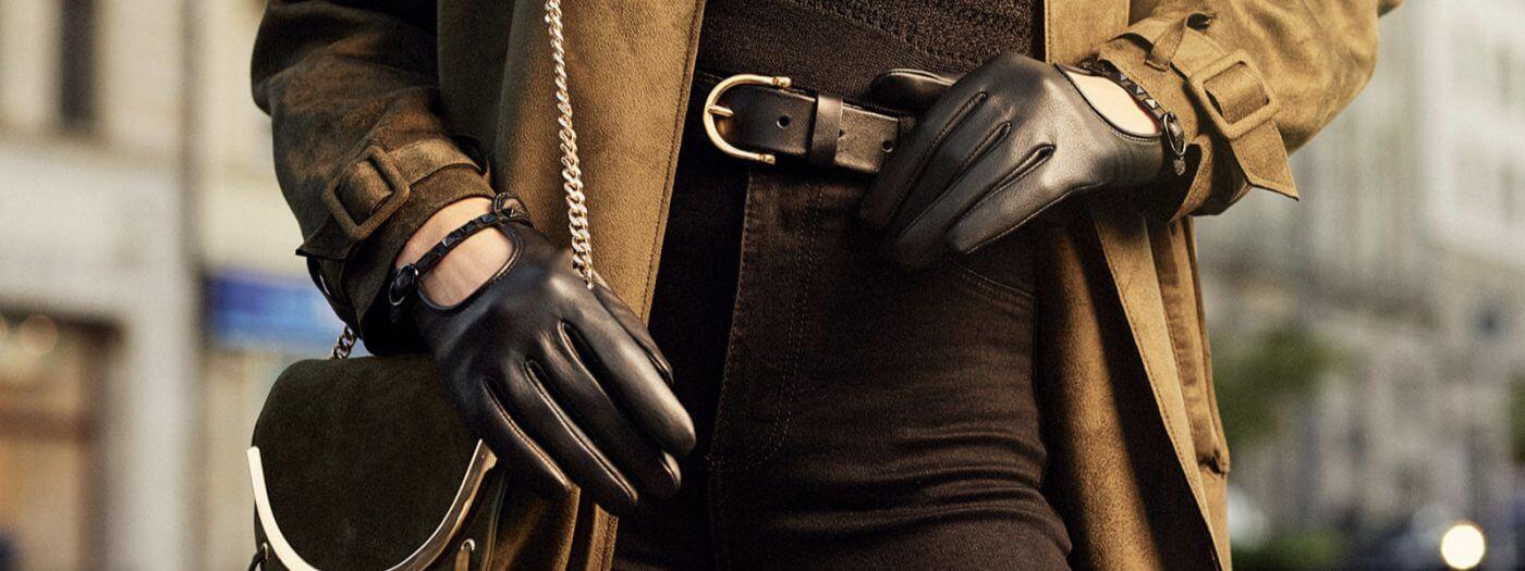Rękawiczki damskie dotykowe skórzane czarne samochodowe
