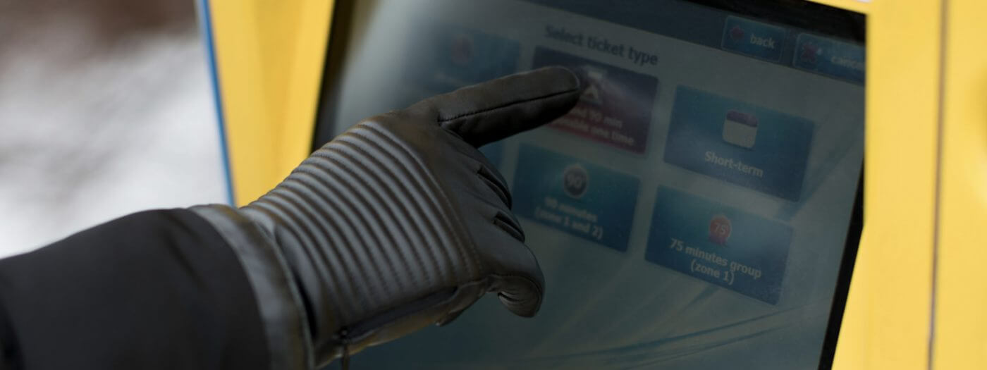 Rękawiczki męskie dotykowe skórzane czarne