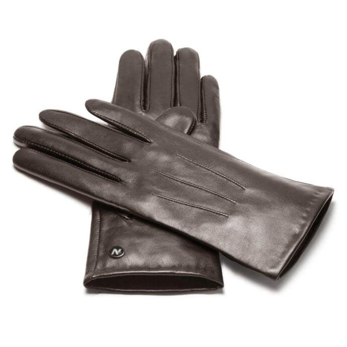 Klasyczne brązowe damskie rękawiczki dotykowe
