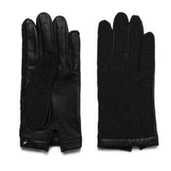 Czarne rękawiczki motoryzacyjne ze skóry