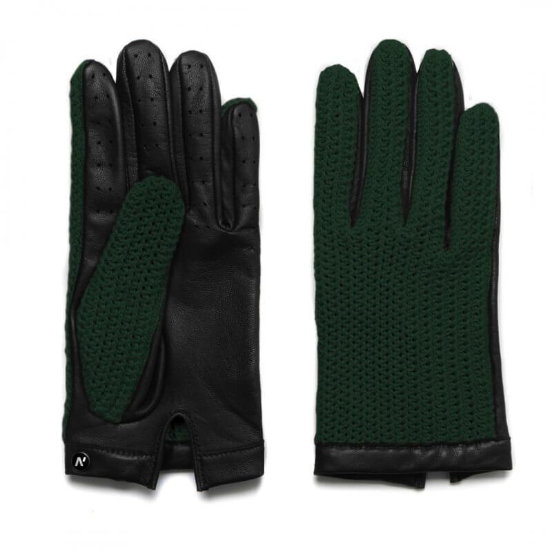 Zielone rękawiczki motoryzacyjne ze skóry