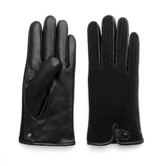 Czarne rękawiczki skórzane do smartfona