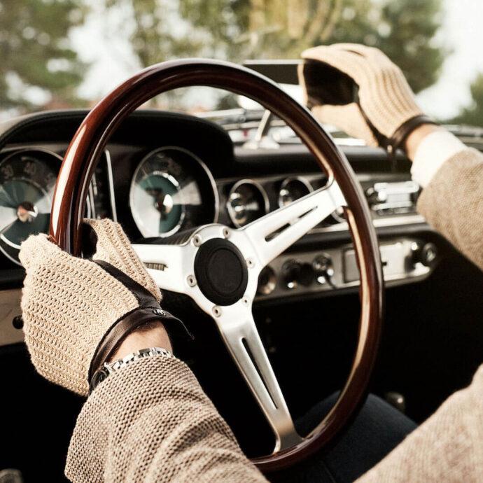 Męskie rękawiczki samochodowe retro