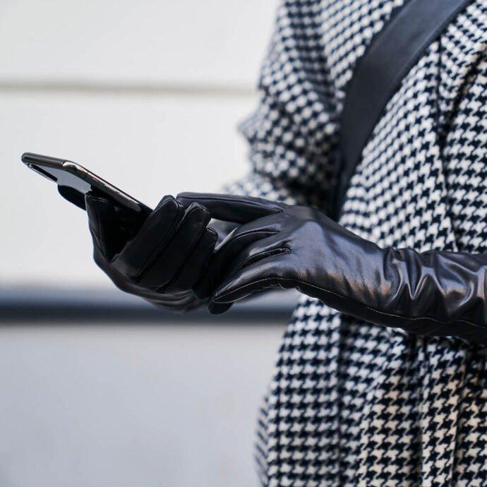 Klasyczne długie damskie rękawiczki