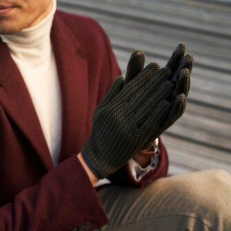 Retro rękawiczki samochodowe męskie zielone