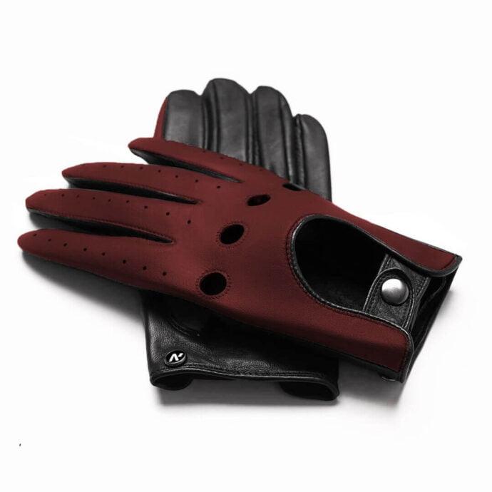 Bordowe rękawiczki samochodowe
