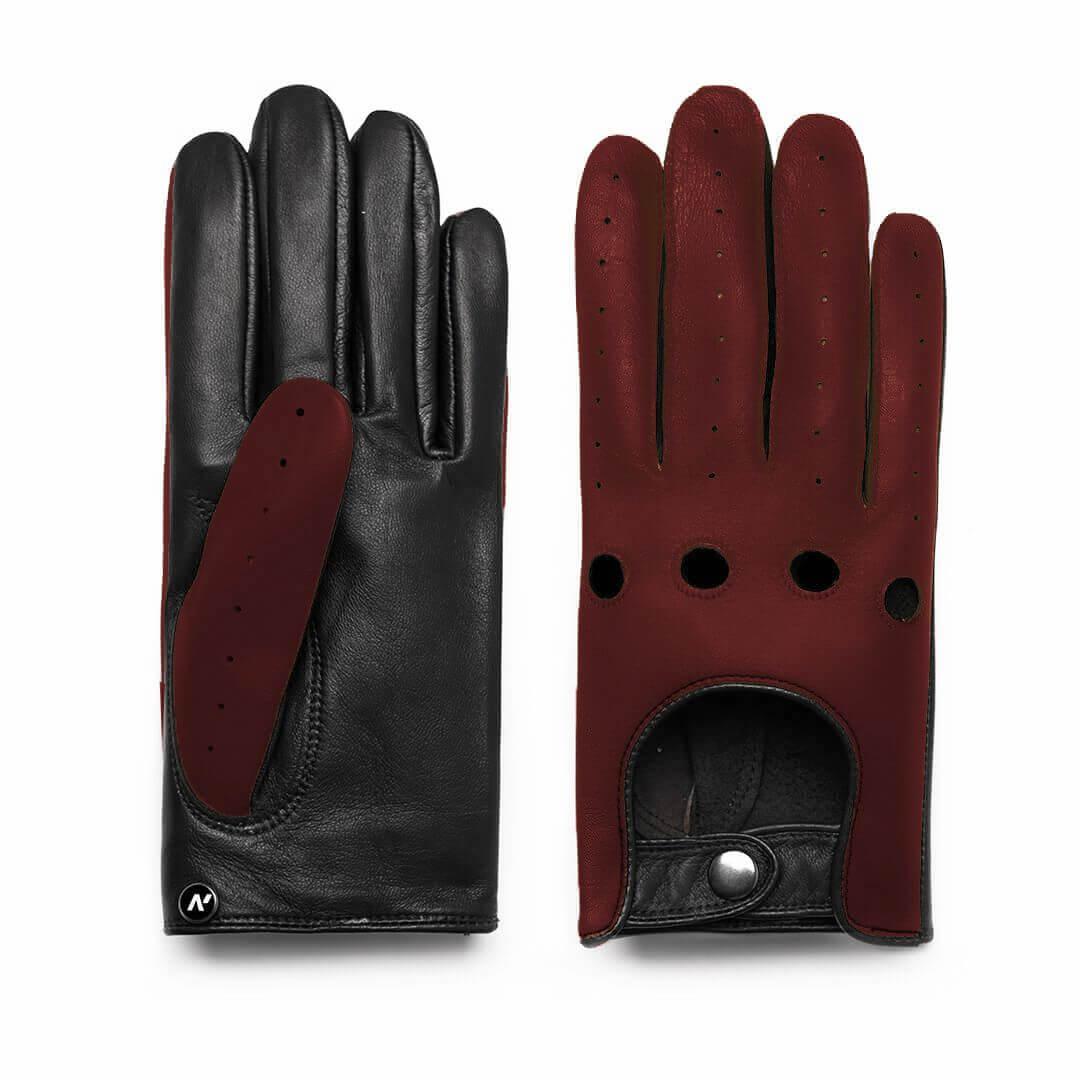 Bordowe rękawiczki samochodowe dla mężczyzn