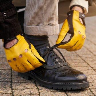 Męskie żółte rękawiczki samochodowe