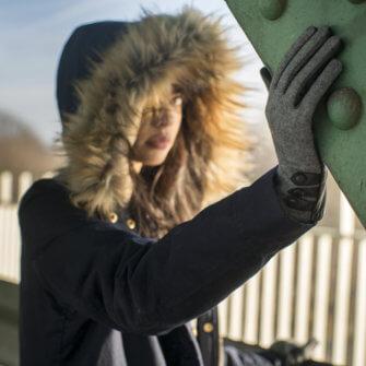 Szare rękawiczki damskie