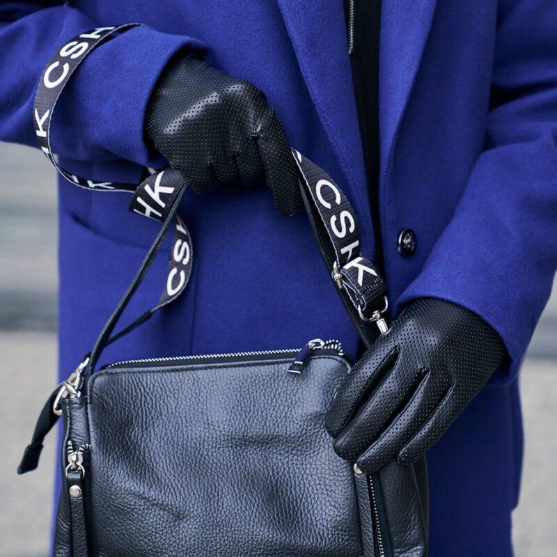 Czarne damskie rękawiczki ze skóry ekologicznej