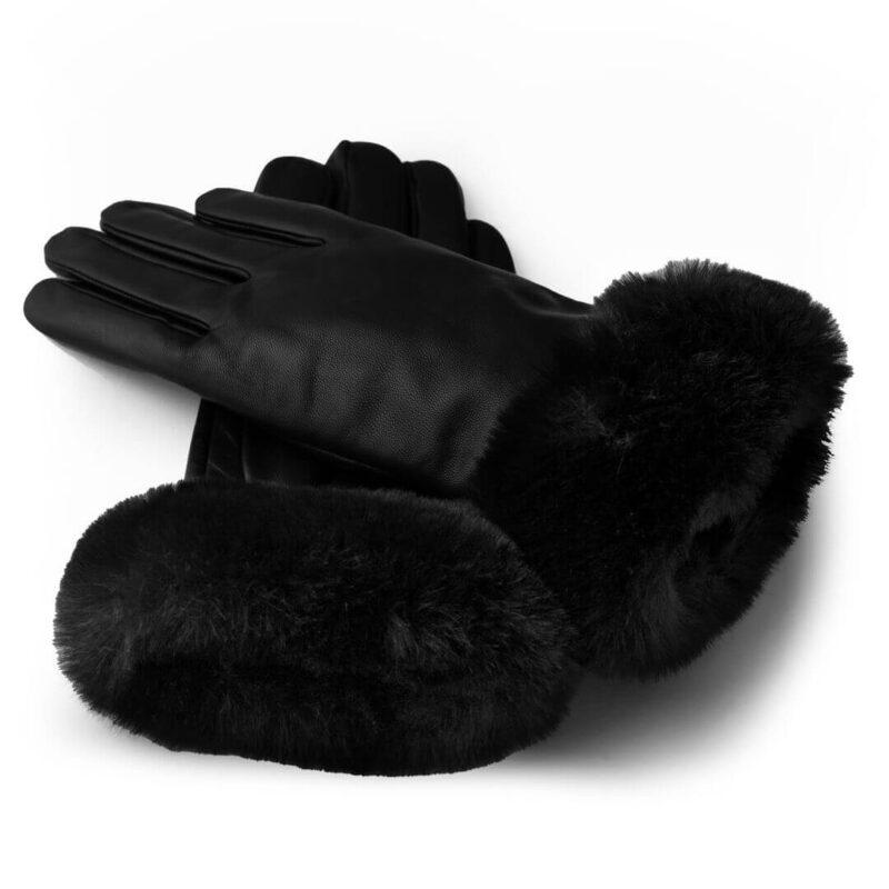 Czarne dotykowe rękawiczki z syntetycznym futerkiem