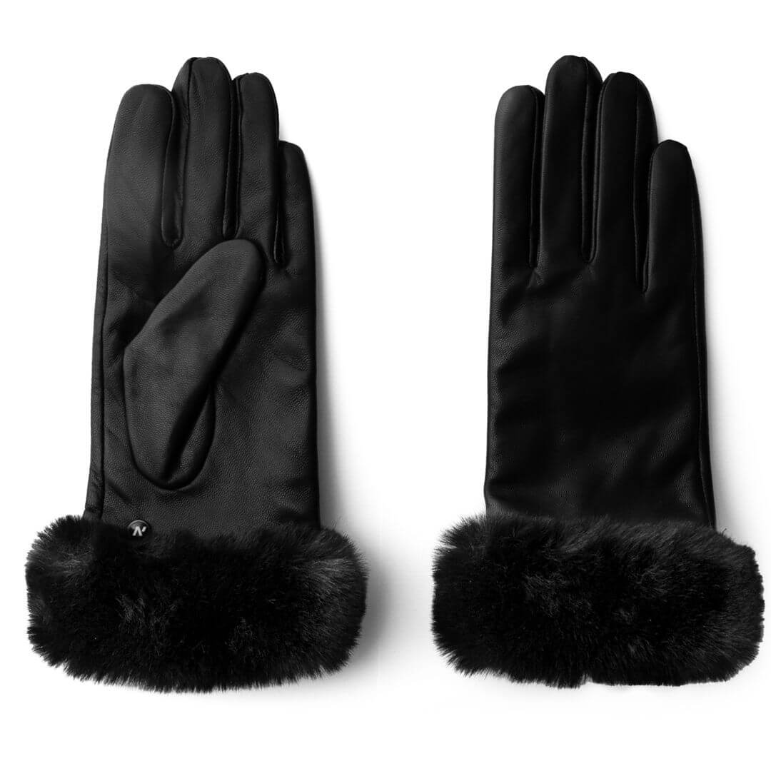 Damskie rękawiczki z futerkiem ze skóry