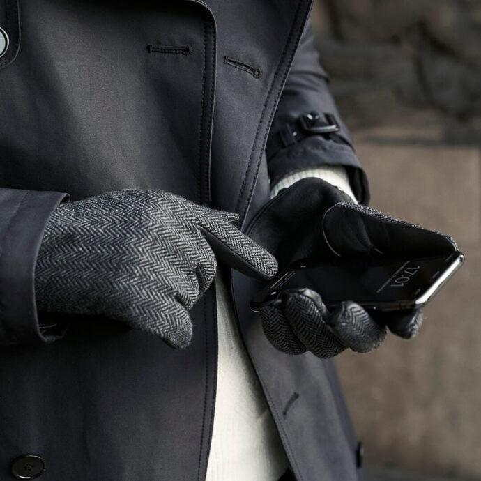 Męskie rękawiczki w jodełkę