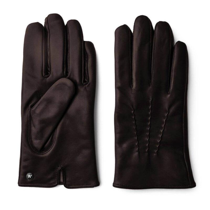 Skórzane rękawiczki dotykowe brązowe