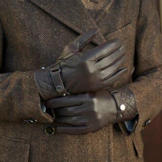 Brązowe męskie rękawiczki eleganckie