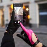 Różowe neonowe rękawiczki damskie
