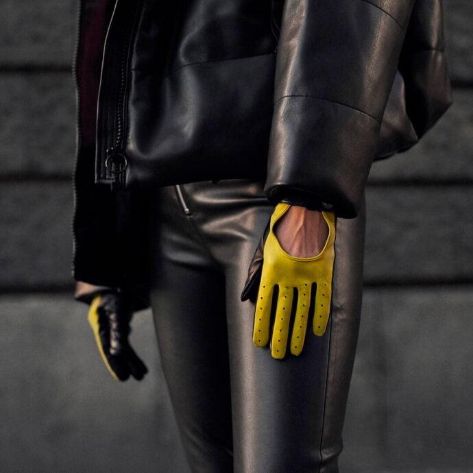 Żółte neonowe rękawiczki damskie