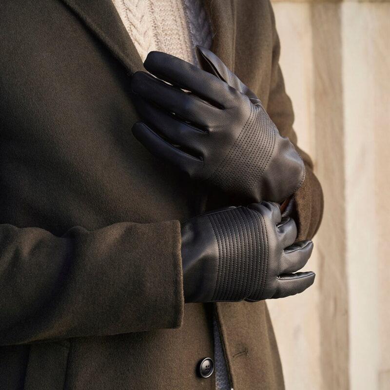 Czarne rękawiczki ze skóry ekologicznej dla mężczyzn