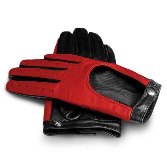 Czerwone damskie rękawiczki skórzane