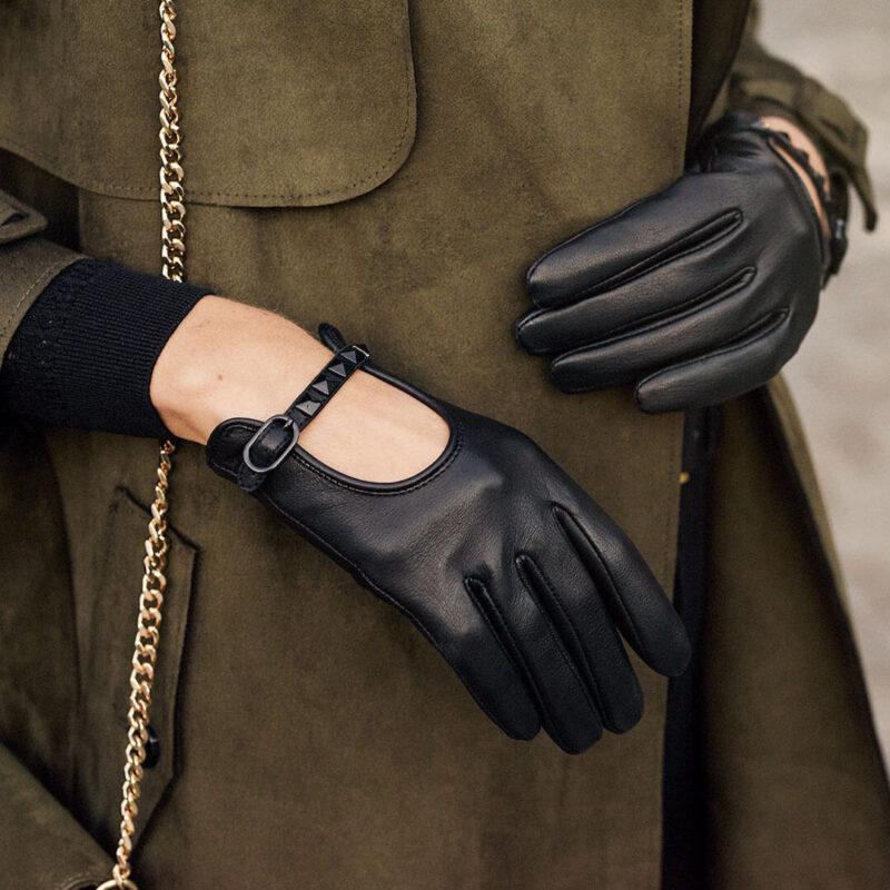 Damskie rękawiczki z ćwiekami