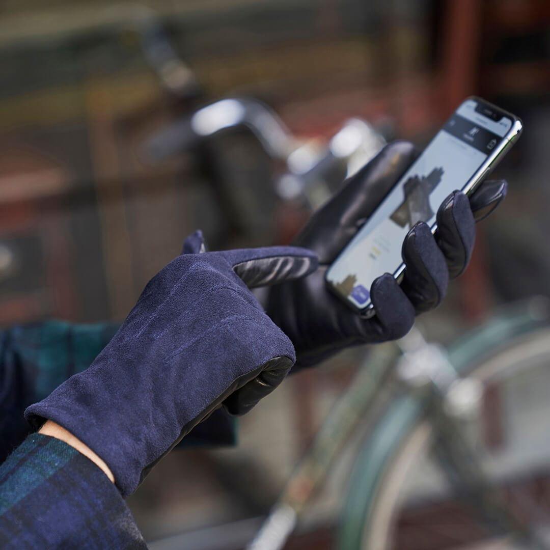 Damskie zamszowe granatowe rękawiczki