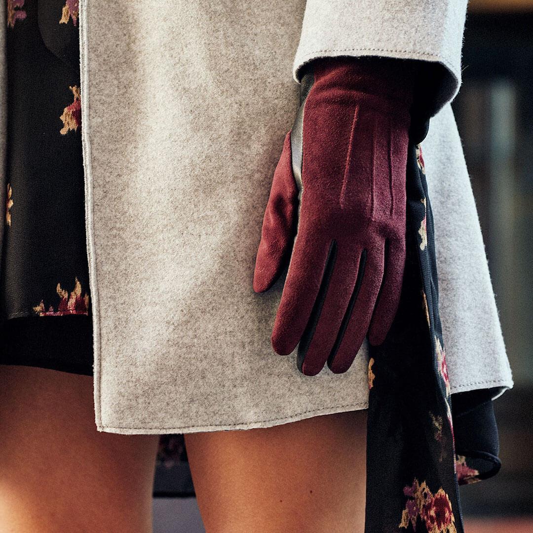 Ciemnoczerwone damskie rękawiczki