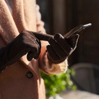 Damskie zamszowe brązowe rękawiczki