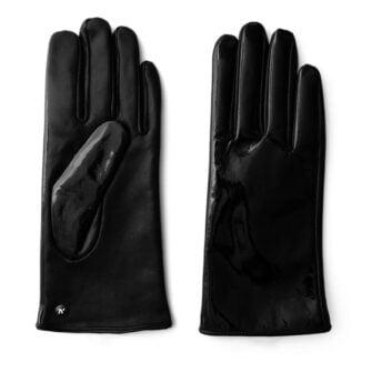 Czarne świecące rękawiczki dla kobiet