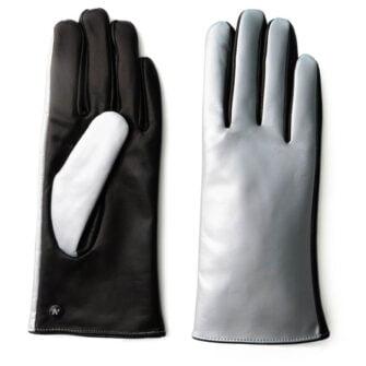 Srebrne świecące rękawiczki damskie
