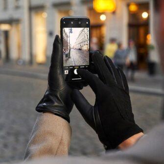 Damskie zamszowe czarne rękawiczki